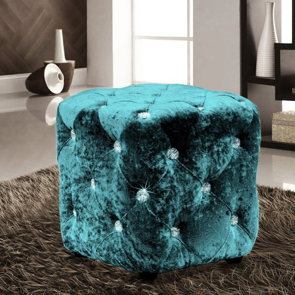 TEAL LUXURY CRUSHED VELVET DIAMANTE FOOT STOOL CUSHION CUBE POUFFE DESIGNER FURNITURE